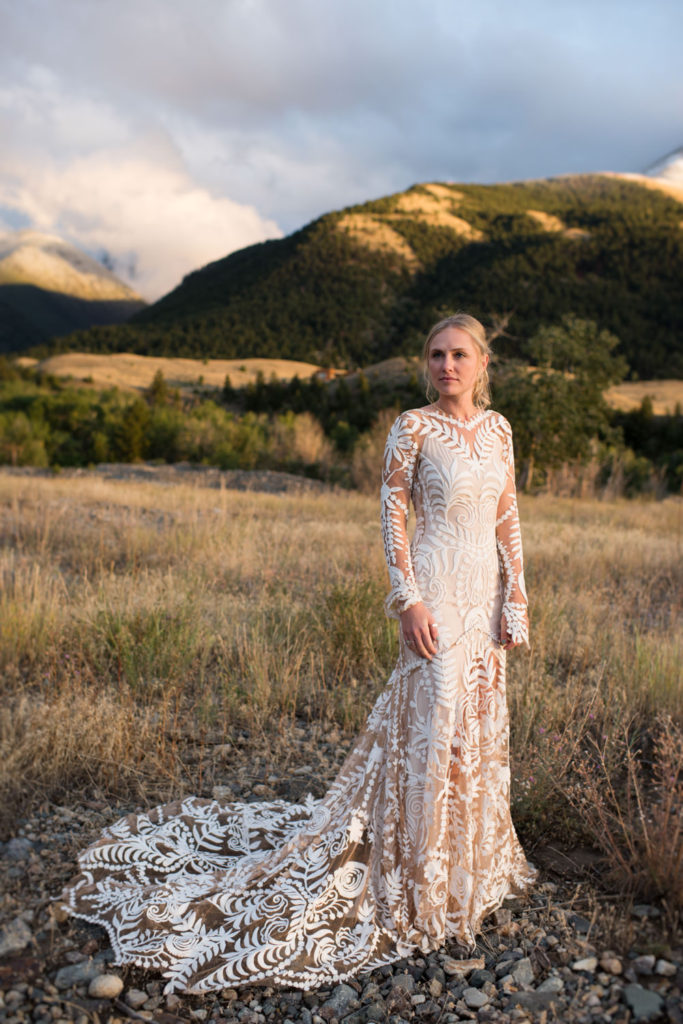 Bride with mountain backdrop