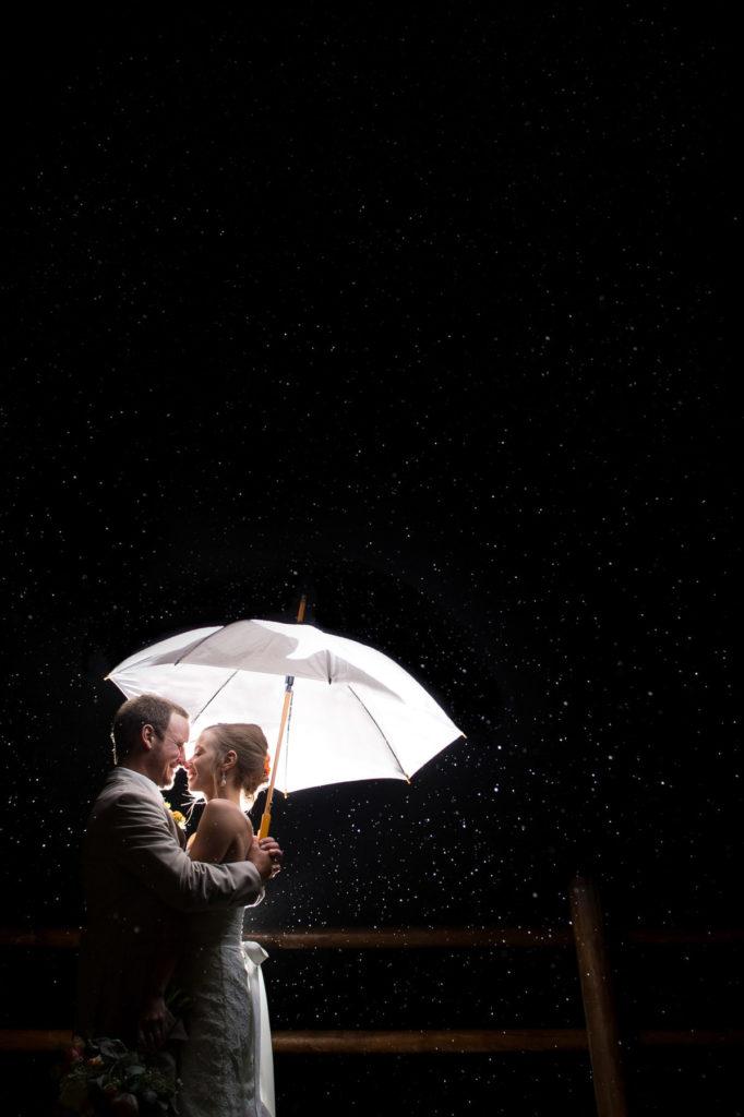 Wedding shot of bride and groom under umbrella