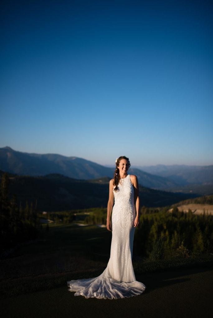 Bride in blue sky